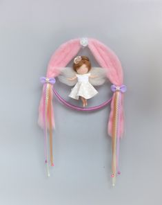 Hairclip holder mobile with a needle felted Angel doll