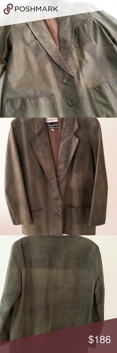 VINTAGE Distressed Leather Jacket Made exclusively for Saks, made in Israel army green color beautiful distressed leather. Fully lined. 3 front pockets. EUC. I have loved this jacket but worn very little so it needs to be loved by someone else. Saks Fifth Avenue Jackets & Coats Blazers