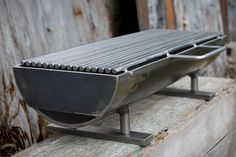 """hibachi grill, known as the """"Hibachinator""""! This grill means business with a x removable grilling surface, and at a whopping 50 lbs. It can hold the heat, and deliver it right to the matter at hand: Grilling a meal. Made of welded steel. Metal Projects, Metal Crafts, Diy Projects, Bbq Grill, Hibachi Grill, Barbecue Smoker, Welding And Fabrication, Welding Art, Welding Tools"""