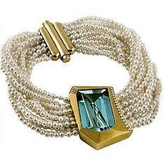 aquamarine pearl bracelet - susan sadler