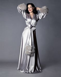 "🌟Introducing the first collector's piece for the Dita Von Teese Collection by Catherine D'Lish! The ""Holiday Gown"". This luxurious dressing gown is. Satin Lingerie, Lingerie Sleepwear, Women Lingerie, Sexy Lingerie, Dita Von Teese Style, Feminine Mode, Babydoll, Mode Jeans, Glamour"