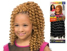 Sensationnel African Collection Cozy loop crochet braid for Kids and -- Awesome products selected by Anna Churchill Kids Braided Hairstyles, Girl Hairstyles, Crochet Braids For Kids, Kanekalon Braids, Feather Extensions, Kid Braid Styles, Types Of Braids, Crochet Hair Styles, Dark Skin