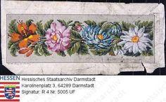 Handarbeiten, Stickmuster / Blumenbordüre