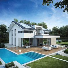 Ein echtes Traumhaus: Musterhaus Mannheim mit Swimmingpool in L-Form
