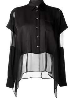 MAISON MARGIELA Semi-Sheer Layered Blouse. #maisonmargiela #cloth #blouse
