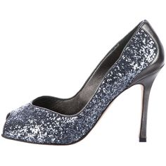 Pre-owned Manolo Blahnik Peep-Toe Glitter Pumps (€160) ❤ liked on Polyvore featuring shoes, pumps, blue, blue pumps, peep toe pumps, leather peep toe pumps, manolo blahnik shoes and glitter shoes