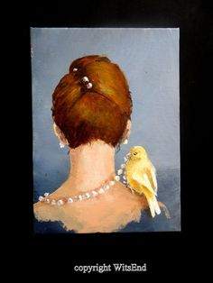 'JULIA HAD ECLECTIC TASTE IN ACCESSORIES'. Fashion Bird painting original Canary pearl necklace by 4WitsEnd, via Etsy