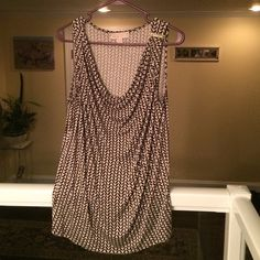 Michael Kors Tank Top This brown & beige MK tank is draped in the front to fit perfectly. It's soft material makes it effortless to wear all day with a jacket or out in the evening. In excellent condition. MICHAEL Michael Kors Tops Tank Tops