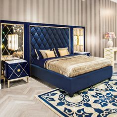 bedroom furniture Art Deco Bedroom With Stripes Wallpaper With Navy Blue Bed Frame And Luxury Bed Sheet : Glamorous Art Deco Style Bedroom Luxury Bedroom Design, Bedroom Bed Design, Bedroom Furniture Design, Bed Furniture, Luxury Furniture, Modern Furniture, Rustic Furniture, Bed Headboard Design, Outdoor Furniture