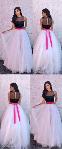 Elegant Prom Dresses, A-Line Jewel Sweep Train White Tulle Prom Dress with Sash Shop for La Femme prom dresses. Elegant long designer gowns, sexy cocktail dresses, short semi-formal dresses, and party dresses. Elegant Bridesmaid Dresses, Simple Dresses, Pretty Dresses, Beautiful Dresses, Long Gown Dress, Tulle Prom Dress, The Dress, Dress Wedding, Gown Dress Party Wear