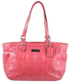64408ec3673af GB1025156 Authentic Coach Gallery Embossed Signature Patent Leather Zip  Tote Bag 19462 Rose Signature embossed patent. Tradesy
