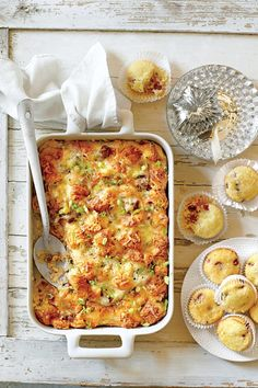 Recipe: Cheesy Sausage-and-Croissant Casserole This casserole is rich, delicious, and worthy of Saturday brunch. Gruyère cheese browns beautifully and Make Ahead Casseroles, Fall Casseroles, Make Ahead Breakfast, Breakfast Dishes, Breakfast Recipes, Breakfast Ideas, Church Potluck Recipes, Brunch Recipes, Potluck Dishes