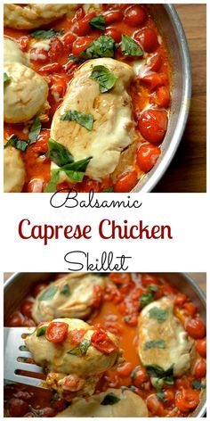 Chicken smothered in sauce made with fresh cherry tomatoes, butter, balsamic, and basil. DELICIOUS!!