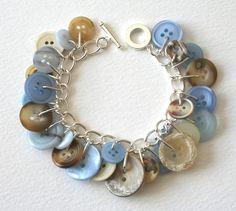Cornflower blue and clotted cream button charm bracelet.