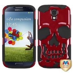 Amazon.com: MYBAT Solid Red/Black Skullcap Hybrid Protector Cover for SAMSUNG I337 (Galaxy S 4): Cell Phones & Accessories