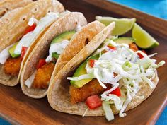 Crispy Fish Tacos Don't batter them before breading, just do a little lime juice, then roll in panko seasoned with salt, pepper, paprika, and cayenne. Bake on a foil lined cookie sheet at 375 for 20 minutes.  They turn out great!!