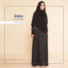 Gamis Amima Syaira Dress Lona Black - baju muslim wanita baju muslimah Untukmu yg cantik syari dan trendy . . Size: S ---> 94 | 137 M ---> 100 |140 L ---> 106 | 140 . . - Material bahan : koshibo crepe hq printing  crepe polos Nyaman digunakan seharian bahannya jatuh dan flowy - Dress yang simpel dan cutting menarik dengan warna monochrome dan netral - Bagian badan dress polos dengan warna senada bukaan zipper depan#busuifriendly - Dengan aksen kerah shanghai dan manset tangan - Manset…
