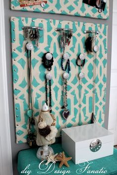 DIY Jewelry Holder, or bulletin board. Love that you could use any background, but do love the turquoise and cream in this one!