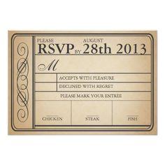 Vintage Wedding RSVP Vintage Wedding Ticket RSVP II Punchout Card