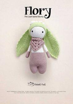 PATTERN!! FLORY the Leaf-eared Bunny /crochet pattern/ amigurumi