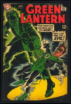 Mounted vintage Green Lantern cover.