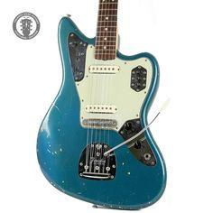 1964 Fender Jaguar in Lake Placid Blue with Matching Fender Electric Guitar, Fender Guitars, Guitar Strings, Guitar Pedals, Jaguar Colors, Lake Placid Blue, Fender Jaguar, Johnny Marr, Used Guitars