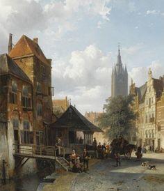 Cornelis Springer (1817-1891) - Figures at the fish market in Delft