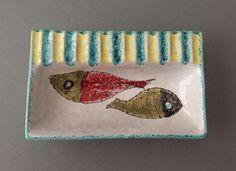 Vintage Italian Hand-painted Glazed Ceramic Abstract Fish Ashtray Trinket Dish  #MidcenturyModern