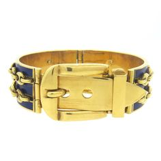Gucci Blue Enamel Gold Buckle Bracelet | From a unique collection of vintage more bracelets at https://www.1stdibs.com/jewelry/bracelets/more-bracelets/