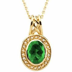 10K Yellow Gold Oval Cut Chatham Created Emerald and Pearl Pendant -- LIFETIME WARRANTY