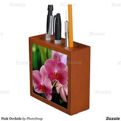 Pink Orchids Desk Organizer