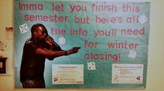 A funny winter closing bulletin board by RA Esa!