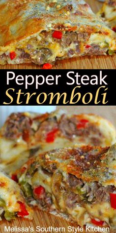 Family-style Pepper Steak Stromboli recipes chicken recipes crockpot recipes easy recipes for dinner recipes healthy food recipes Beef Steak Recipes, Meat Recipes, Cooking Recipes, Beef Steaks, Dinner Recipes, Pepper Recipes, Game Recipes, Pizza Recipes, Recipies