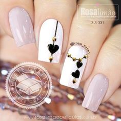 Black and White Valentines Nails - Nageldesign - Black Nail Designs, Nail Art Designs, Nails Design, Nail Designs With Hearts, White Nails, Pink Nails, Red Black Nails, Gorgeous Nails, Pretty Nails