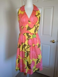 Trina Turk Floral Lined Halter Dress 8 M Yellow Pink Brown Spring 100% Cotton    #TrinaTurk #BeachDressHalter #Cocktail
