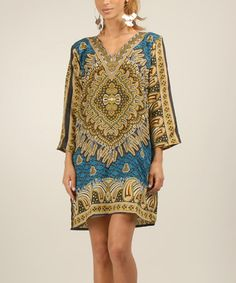 Look what I found on #zulily! Turquoise & Gold Paisley Shift Dress by Kushi by Jasko #zulilyfinds