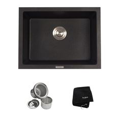 KRAUS Dual Mount Granite Composite 24 in. Single Basin Kitchen Sink Kit in Black Onyx-KGD-410B - The Home Depot