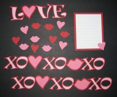 LOVE XO Scrapbook Border Set, Page Layout / Die Cuts - Premade Valentines Heart Wedding Couple