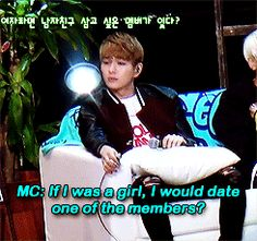 Onew's hilarious reactions to a series questions regarding SHINee members hypothetically dating SHINee members. (.gif set).
