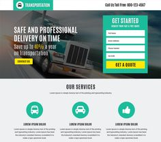 responsive transportation service landing page design template get premium landing pages from buy landing pages design and increase conversion rate