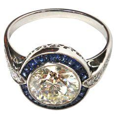 Art Deco diamond and sapphire engagement ring