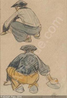 MÉHEUT Mathurin, 1882-1958 (France) Title : Deux études de pêcheurs bretons accroupis Date :   Category : Drawings Medium : : Pen and ink and watercol.  : Plume, encre et aquarelle