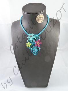 Collier en fil aluminium bleu turquoise sur tube caoutchouc bleu assorti. Composé de perles de rocailles et de boutons fleurs : bleu, rose fuchsia et vert. Un mélange subtile de plusieurs couleurs qui permet un accord multiple à votre garde-robes. Il s'accordera idéalement aux décolletés en V été comme hiver.