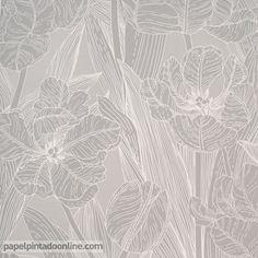 Papel Pintado Valilla Sarastus 5139-1 de estampado floral, con flores de largas hojas en color blanco y gris claro. Kerala, Carpet, Floral, Leaves, Flooring, Texture, Abstract, Rugs, Wallpaper