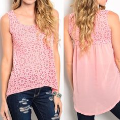 Pink Billowy Hi-Low Tank Make way for a fun new top with this pink sleeveless tank. Featuring a burnout floral design, scooped neckline and hi-low hem. The flowy billowy back gives this shirt a fashionable feminine feel. Pair with leggings or shorts. 100% POLYESTER Cottonwood Clothing Tops Tank Tops