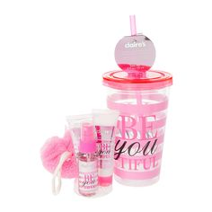 Be-You-Tiful Pink Striped Tumbler with Straw and Bath Products Gift Set | Claire's