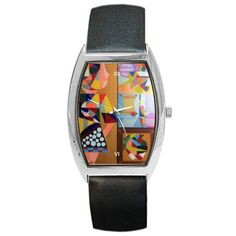 All appleartcom's products are from the original paintings of the artist/designer Jocelyn Apple. Kindly see: (www.facebook.com/appleartcom)    (www.cowcow.com/appleartcom). Pablo Et Moi  Tonneau Leather Watch UNISEX by Jocelyn Apple/Appleartcom  Barrel Style Metal Watch. This unisex watch represents practicality and great value all rolled into one, it makes this accessory a perfect gift for family and friends on all occasions.Face of the watch is made from stainless steel measuring…