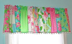 authentic Lilly Pulitzer fabric was used in this fun strip window valance ... There are 10 different Lilly prints used ... many are retired, out