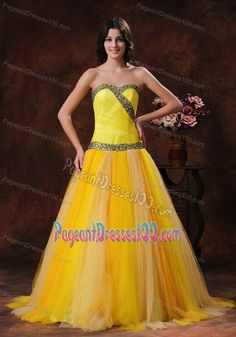 Sweetheart Yellow Pageant Dress with Ruches and Beading in Tulle