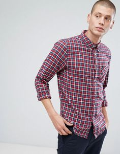 Lee Jeans Button Down Check Shirt - Red